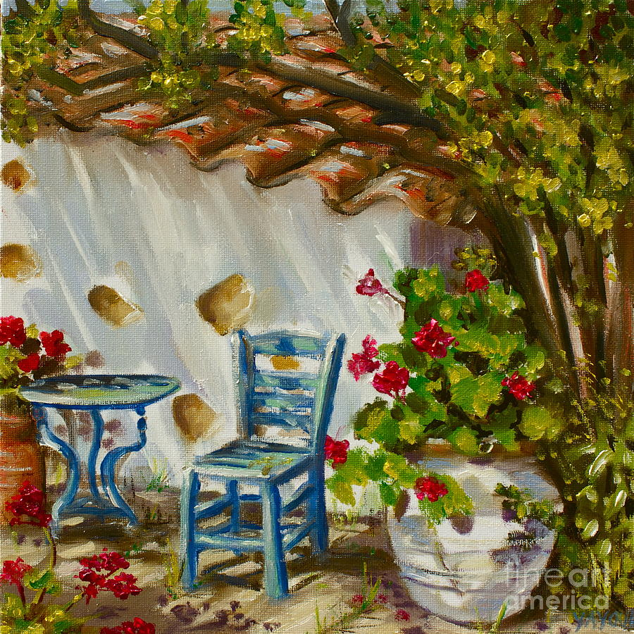 Greece Painting - A Quiet Corner by Yvonne Ayoub