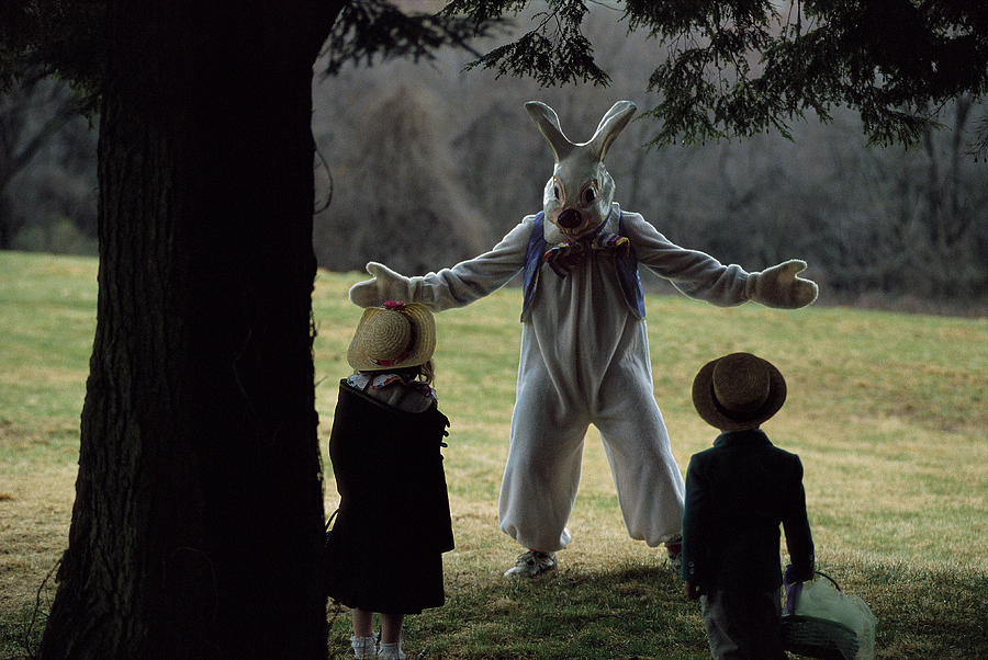A Rabbit Meets Two Children During An Photograph