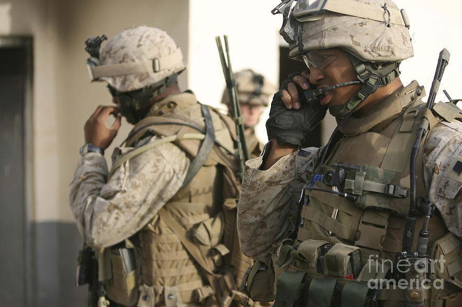 Field Radio Photograph - A Radio Operator Helps A Platoon by Stocktrek Images