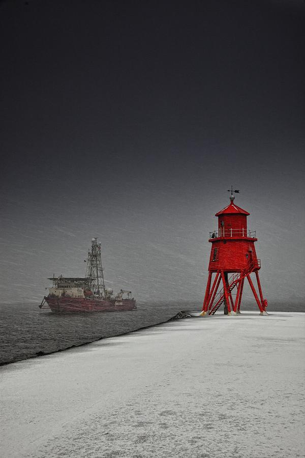 Clouds Photograph - A Red Lighthouse Along The Coast In by John Short