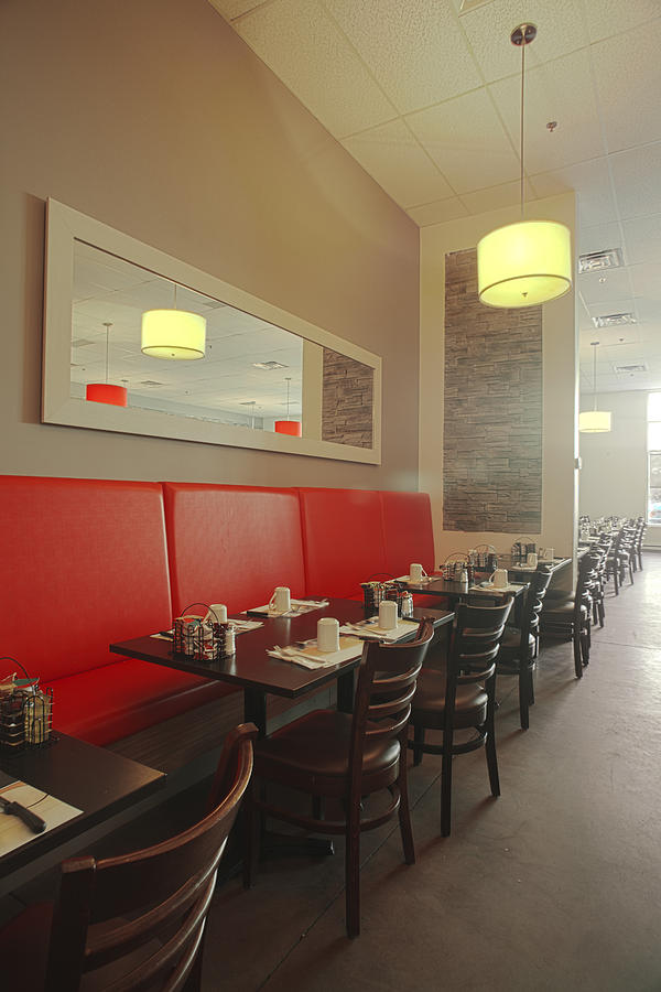 A restaurant interior red banquette photograph by charles knox