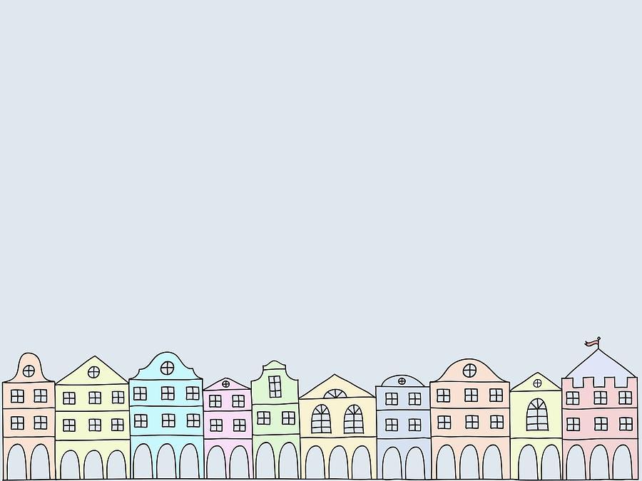 A Row Of Buildings Digital Art