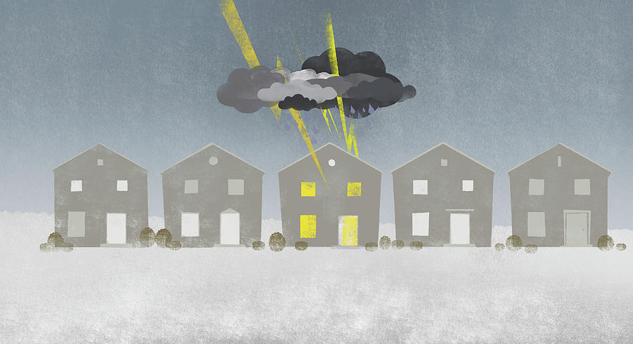 A Row Of Houses With A Storm Cloud Over One House Digital Art  - A Row Of Houses With A Storm Cloud Over One House Fine Art Print