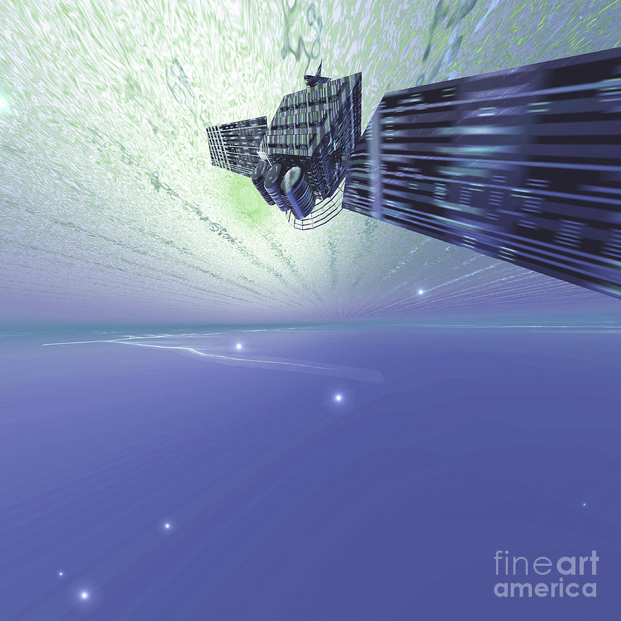 A Satellite Out In The Vast Beautiful Digital Art  - A Satellite Out In The Vast Beautiful Fine Art Print