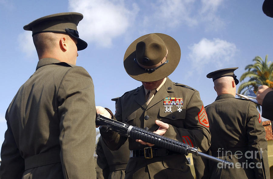 A Senior Drill Instructor Inspects Photograph  - A Senior Drill Instructor Inspects Fine Art Print