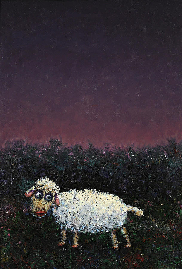 A Sheep In The Dark Painting