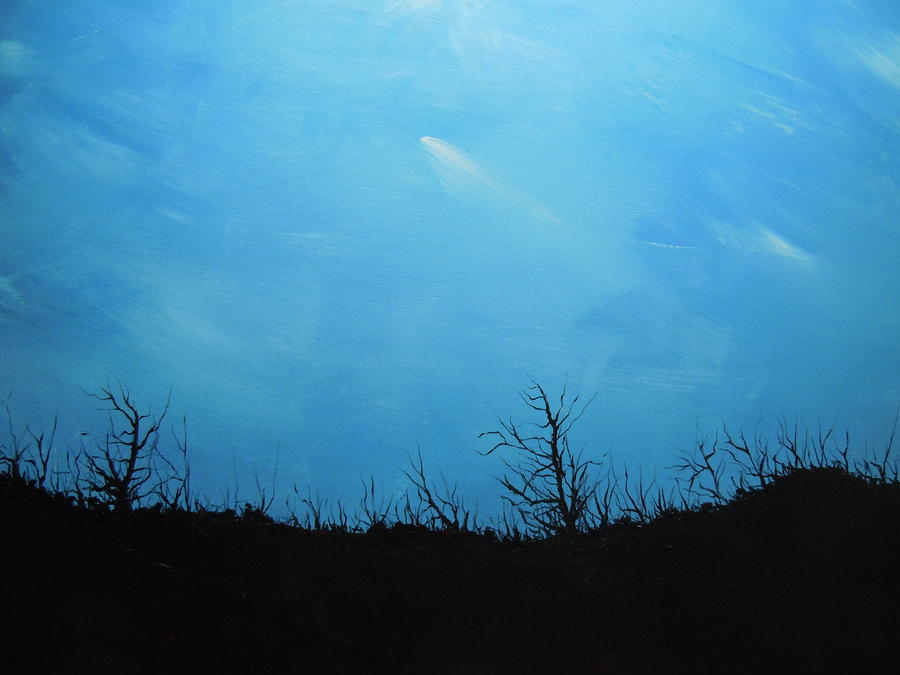 A Shooting Star In An Azure Sky Painting  - A Shooting Star In An Azure Sky Fine Art Print