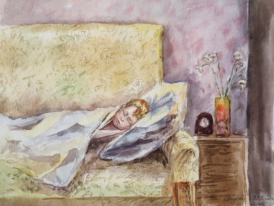 A Sleeping Toddler Painting  - A Sleeping Toddler Fine Art Print