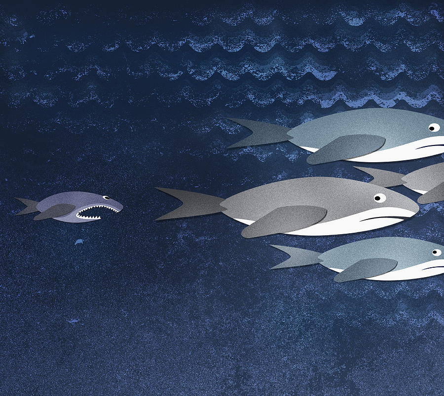 A Small Fish Chasing Three Sharks Digital Art  - A Small Fish Chasing Three Sharks Fine Art Print