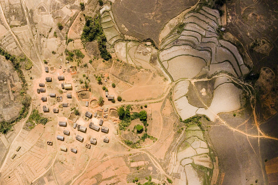 A Small Rice Village In The Central Photograph