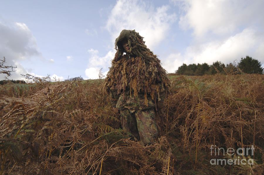 A Sniper Dressed In A Ghillie Suit Photograph  - A Sniper Dressed In A Ghillie Suit Fine Art Print