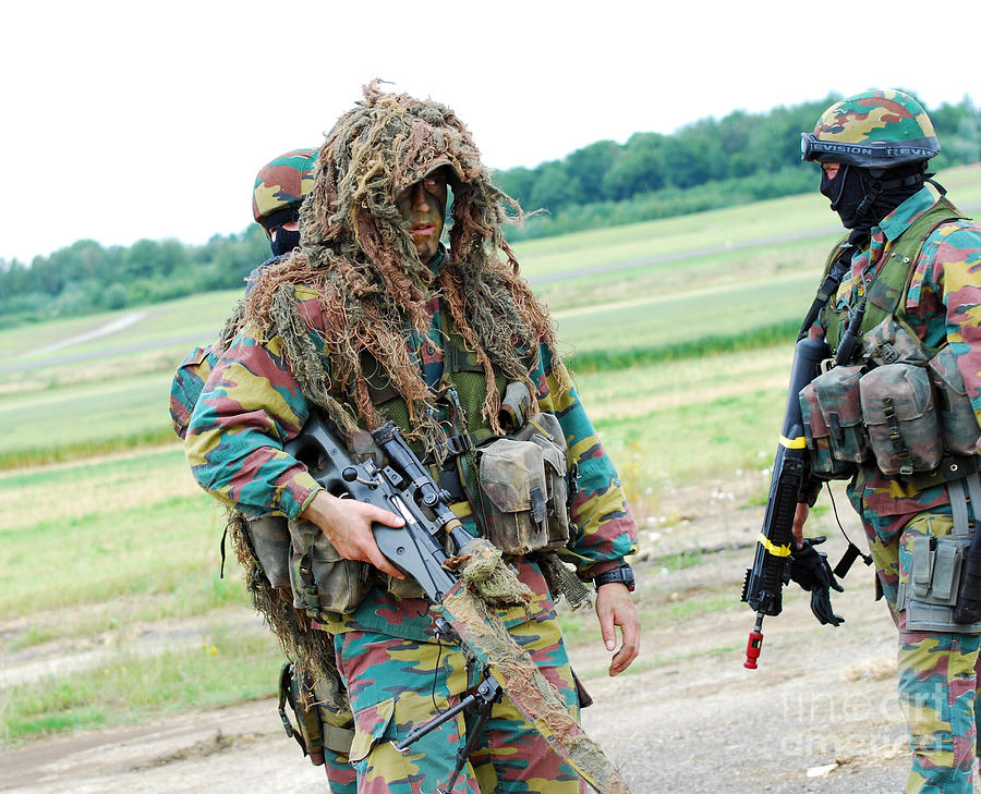A Sniper Of The Belgian Army Together Photograph