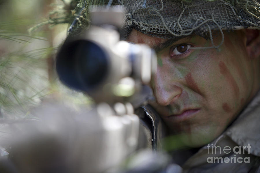 A Sniper Sights In On A Target Photograph  - A Sniper Sights In On A Target Fine Art Print