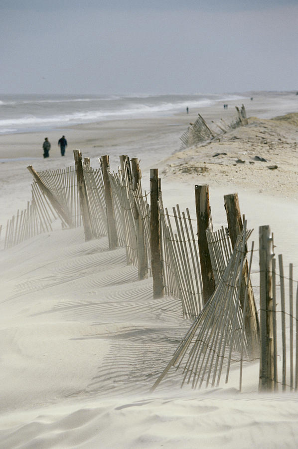 A Snow Fence Stretches Across A Dune Photograph