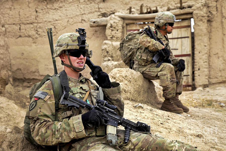 A Soldier Calls In Description Photograph