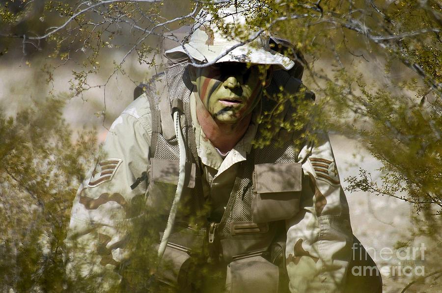 A Soldier Practices Evasion Maneuvers Photograph