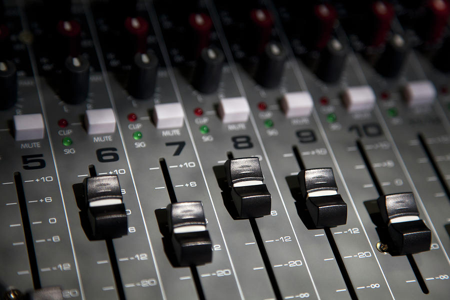 A Sound Mixing Board, Close-up, Full Frame Photograph  - A Sound Mixing Board, Close-up, Full Frame Fine Art Print