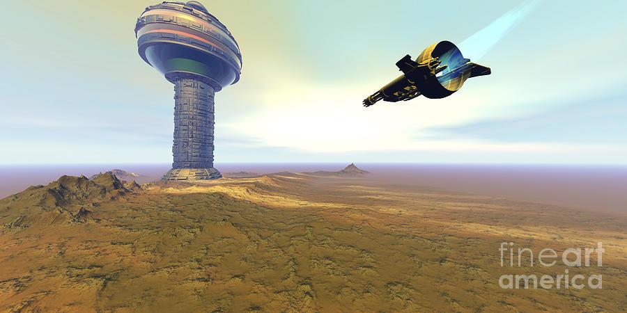 A Spacecraft Nears A Spaceport Digital Art