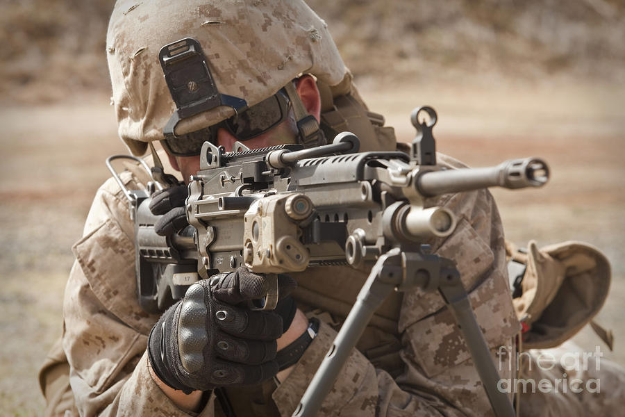 Marine Corps Base Hawaii Photograph - A Squad Automatic Weapon Gunner by Stocktrek Images