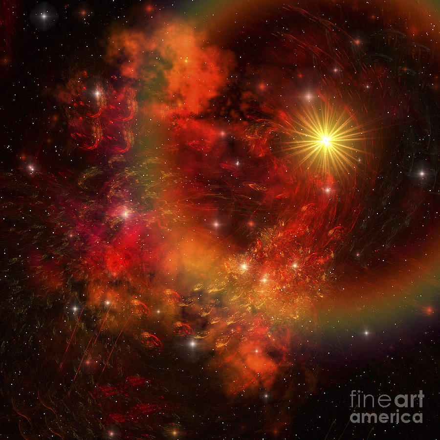 A Star Explodes Sending Out Shock Waves Digital Art  - A Star Explodes Sending Out Shock Waves Fine Art Print