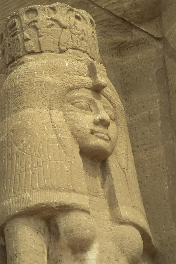 A Statue Of Nefertari At The Entrance Photograph