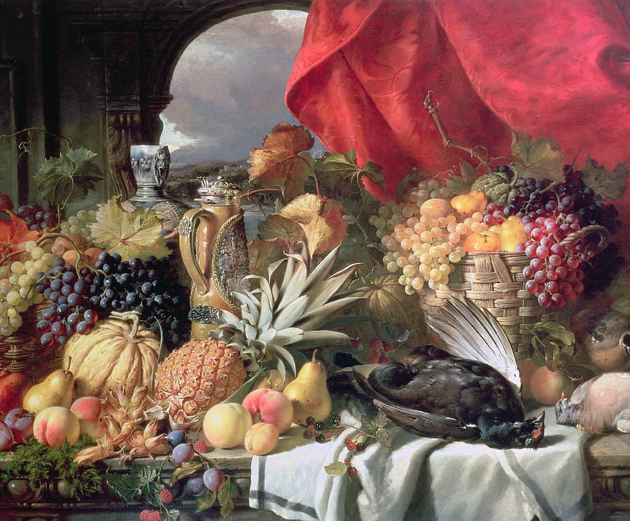 A Still Life Of Game Birds And Numerous Fruits Painting