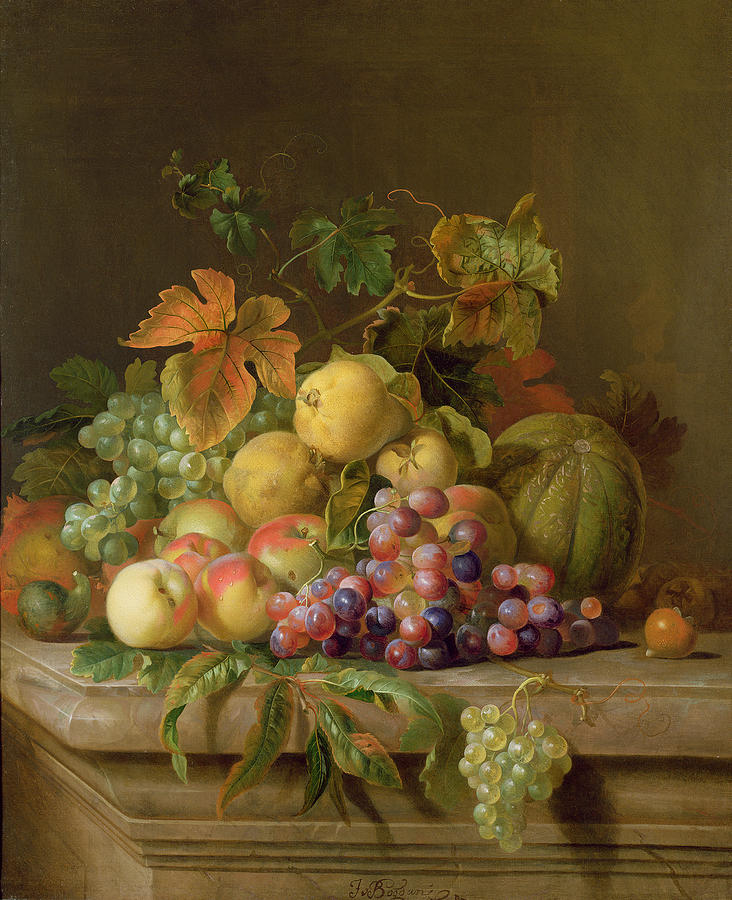 A Still Life Of Melons Grapes And Peaches On A Ledge Painting