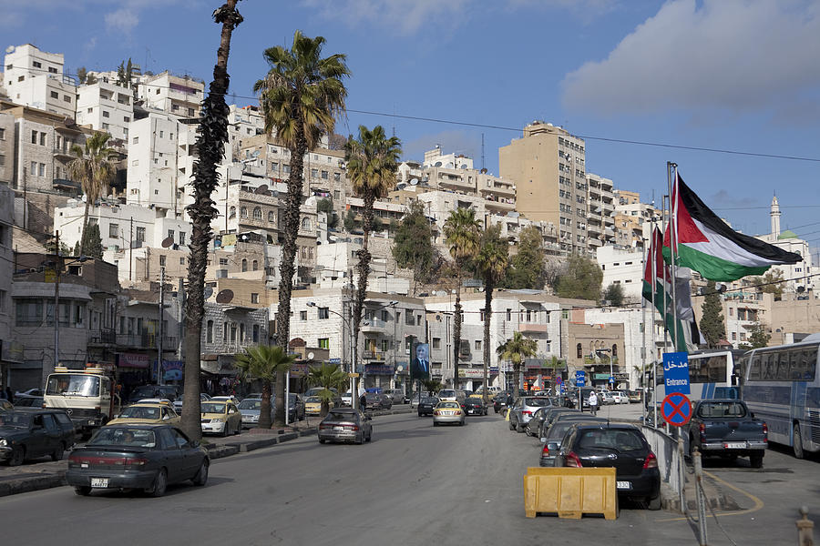 Large Group Of People Photograph - A Street Scene In Amman, Jordan by Taylor S. Kennedy