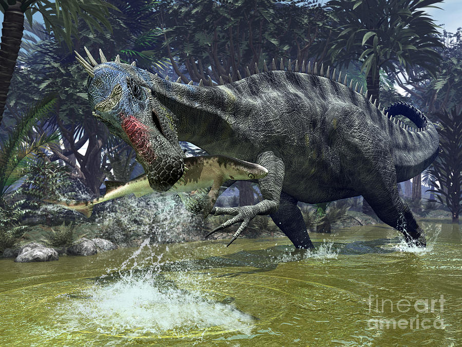 A Suchomimus Snags A Shark From A Lush Digital Art