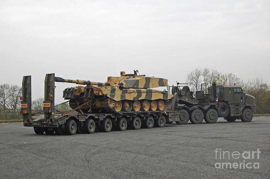 Articulated Lorry Photograph - A Tank Transporter Hauling A Challenger by Andrew Chittock