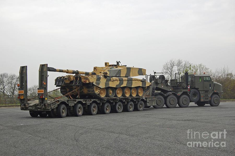 A Tank Transporter Hauling A Challenger Photograph