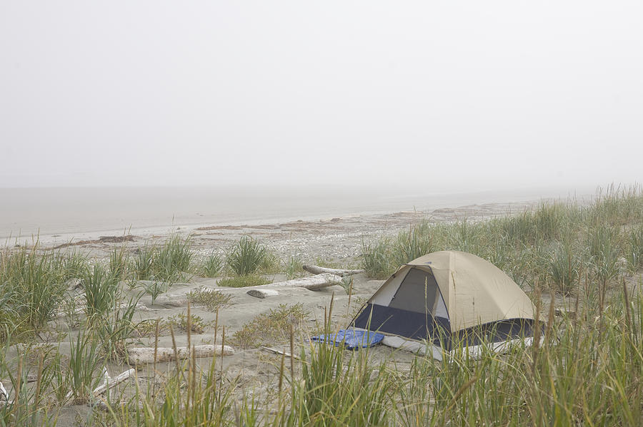 A Tent Sits In The Dunes By The Beach Photograph
