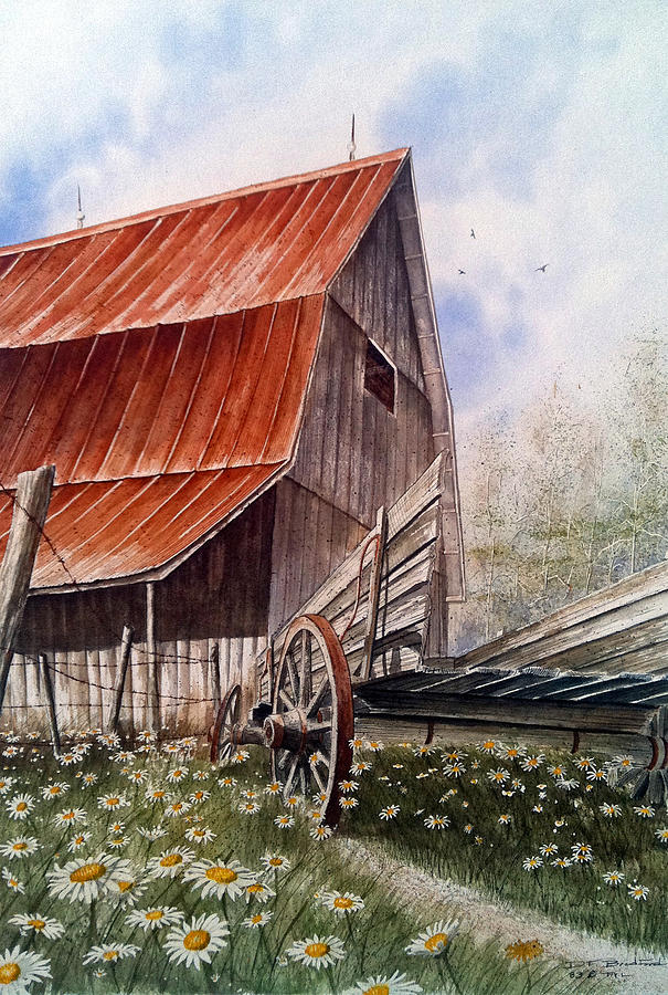Barn Painting - A Time For Daiseys by Don F  Bradford