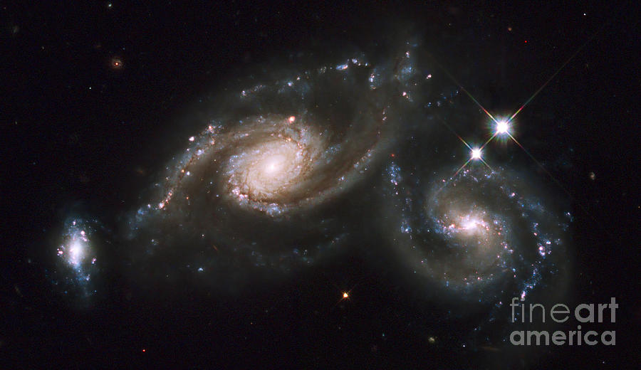 A Triplet Of Galaxies Known As Arp 274 Photograph