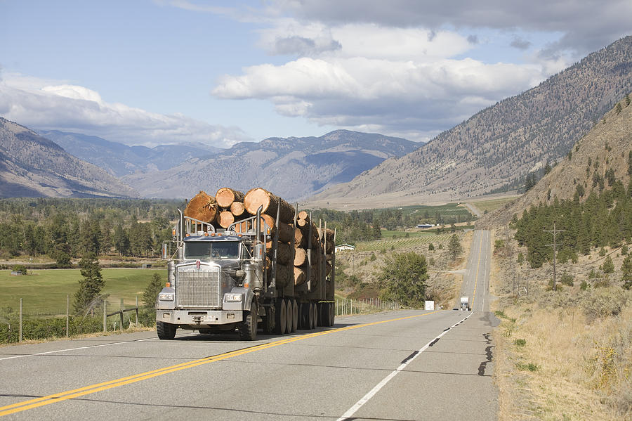 A Truck Carries Logs Down The Highway Photograph