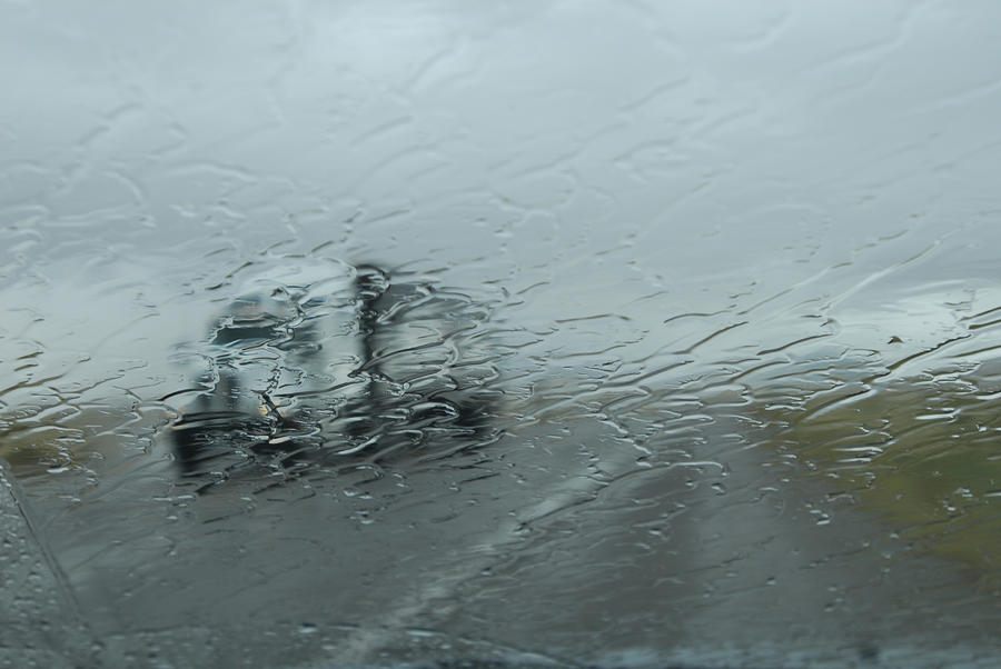 A Truck  On Route 380 Through A Wet Photograph  - A Truck  On Route 380 Through A Wet Fine Art Print