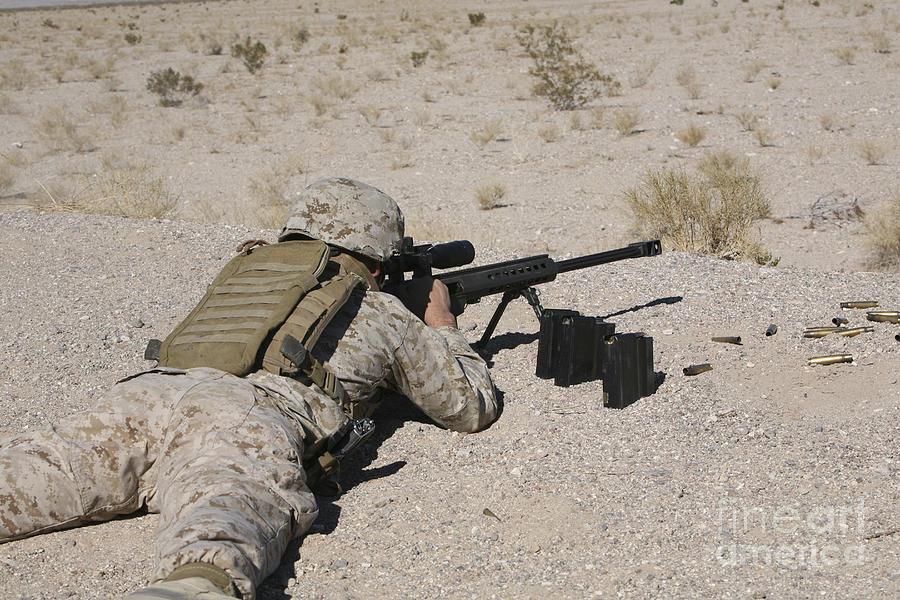A U.s. Marine Zeros His M107 Sniper Photograph