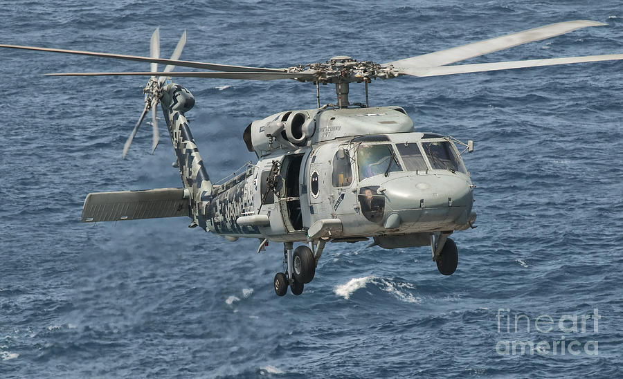 A Us Navy Sh-60f Seahawk Flying Photograph  - A Us Navy Sh-60f Seahawk Flying Fine Art Print