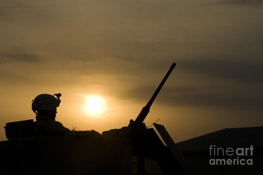 A Us Soldier Mans His .50 Caliber While Photograph  - A Us Soldier Mans His .50 Caliber While Fine Art Print
