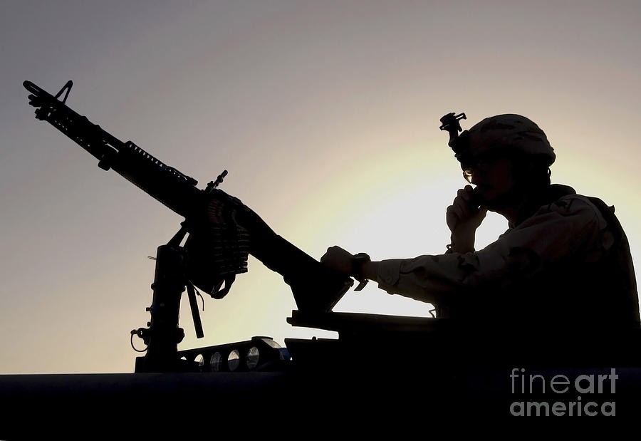 A U.s. Soldier Talks On A Hand Mike Photograph  - A U.s. Soldier Talks On A Hand Mike Fine Art Print