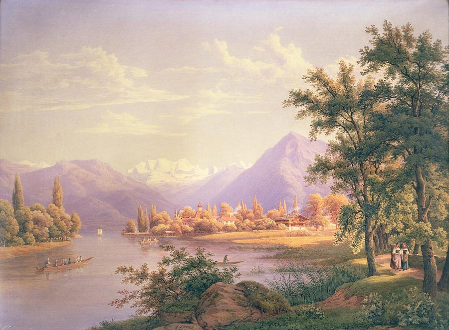 A View Of Scherzingen On The Lake Of Thun Painting