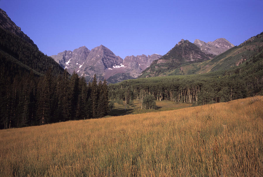 A View Of The Maroon Bells Mountains Photograph