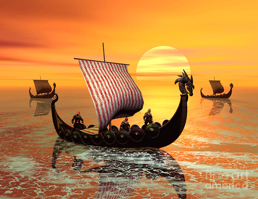 A Viking Ship On The Move Digital Art  - A Viking Ship On The Move Fine Art Print