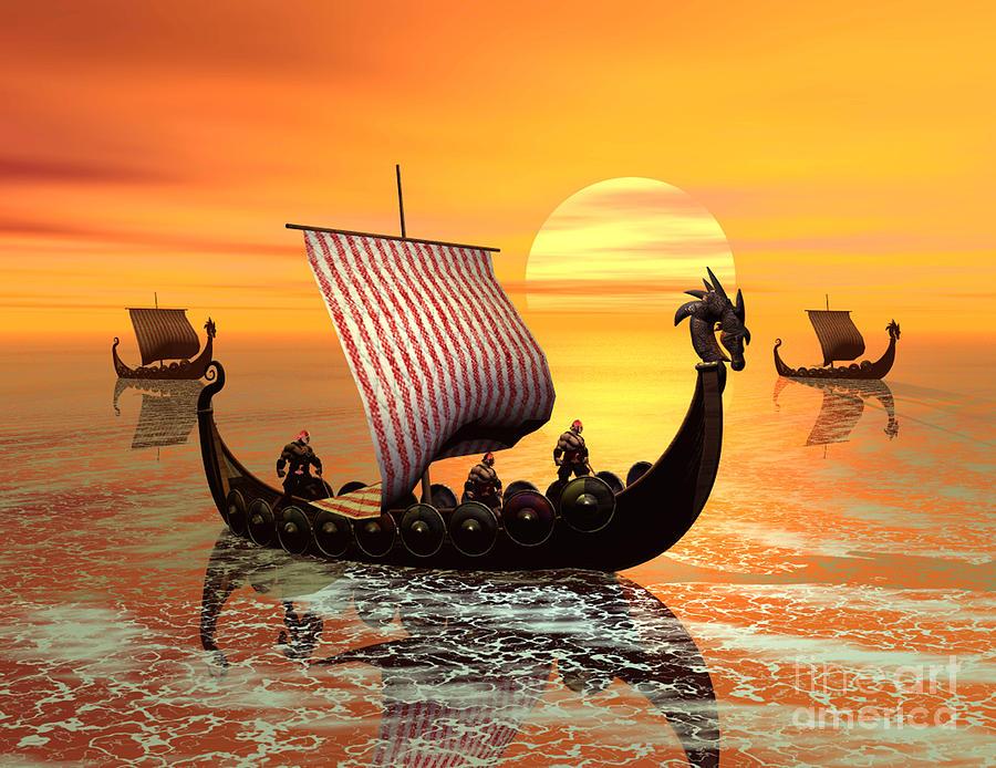 A Viking Ship On The Move Digital Art