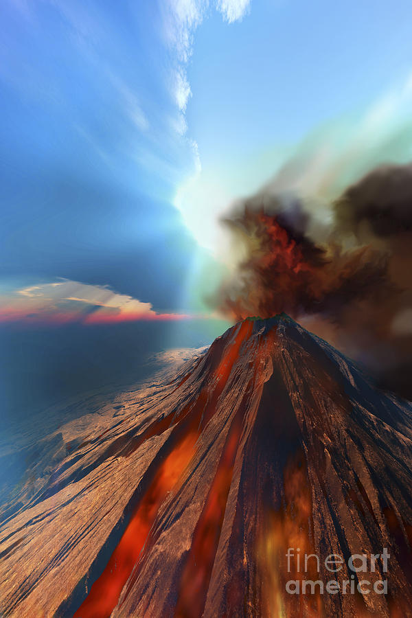 A Volcano Comes To Life With Smoke Digital Art  - A Volcano Comes To Life With Smoke Fine Art Print