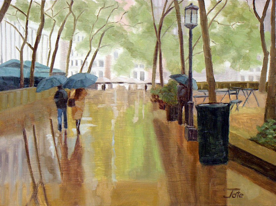 A Walk In Bryant Park Painting  - A Walk In Bryant Park Fine Art Print