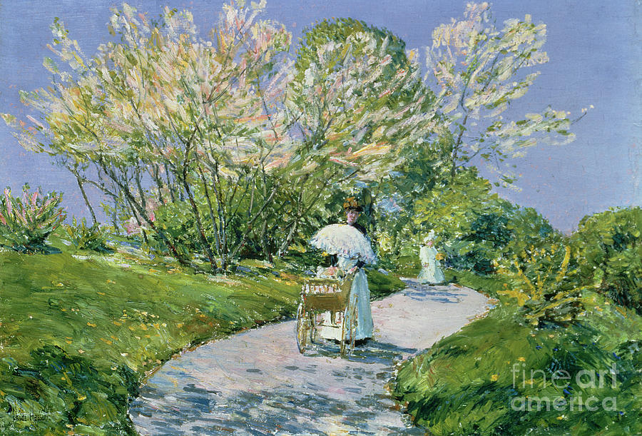 A Walk In The Park (oil) By Childe Hassam (1859-1935) Landscape; Parkland; Walking; Pram; Perambulator; Parasol; Spring;american Impressionist; Path; Nanny; Old Lyme Colony; 'the Ten' Group; Walking Painting - A Walk In The Park by Childe Hassam