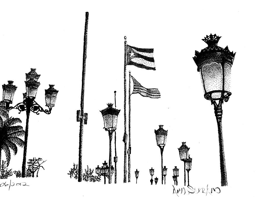 A Walk Through Old San Juan Drawing  - A Walk Through Old San Juan Fine Art Print