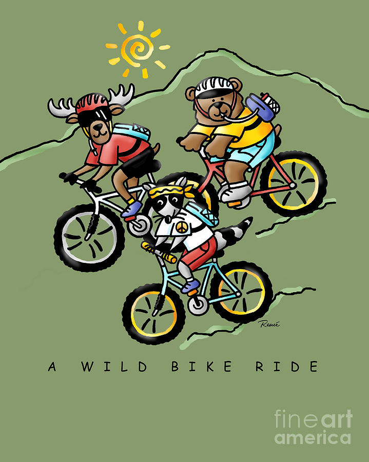 A Wild Bike Ride Drawing  - A Wild Bike Ride Fine Art Print