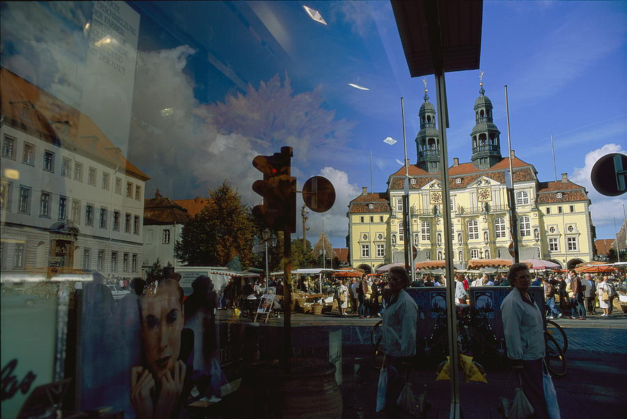 A Window Reflection Of Luneburgs Town Photograph  - A Window Reflection Of Luneburgs Town Fine Art Print